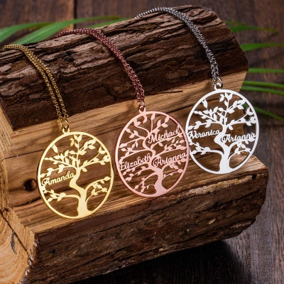 Personalized 1- 13 Names Family Tree Necklace