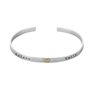 Engraved Hammered Heart Cuff Bracelet