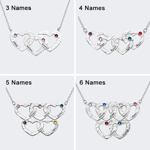 Engraved 3-6 Intertwined Heart Hammered Necklace With Birthstones Sterling Silver