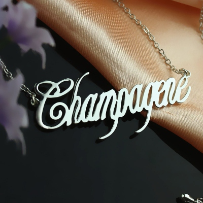 Sterling Silver Remarkable Contemporary Font Unique Name Necklace