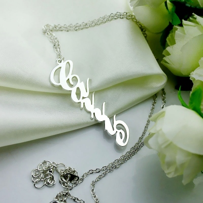 Silver Personalized Costly Vertical Carrie Style Name Necklace