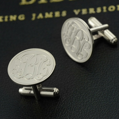Sterling Silver Meaningful Engraved Monogram Cufflinks
