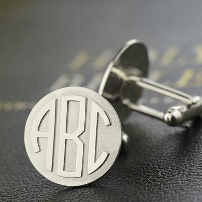 Sterling Silver Distinguished Personalized Men's Block Monogram Cufflinks