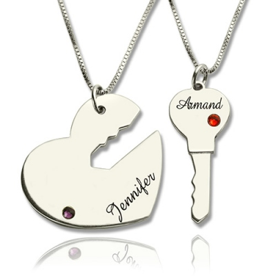 Sterling Silver 925 Versatile Key to My Heart Name Pendant Set For Couple