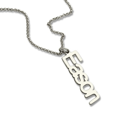 Sterling Silver Unexampled Personalized Vertical Nameplate Necklace