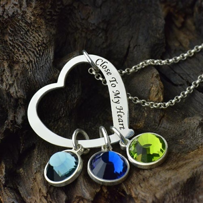 Unapproachable Open Heart Promise Phrase Birthstone Necklace
