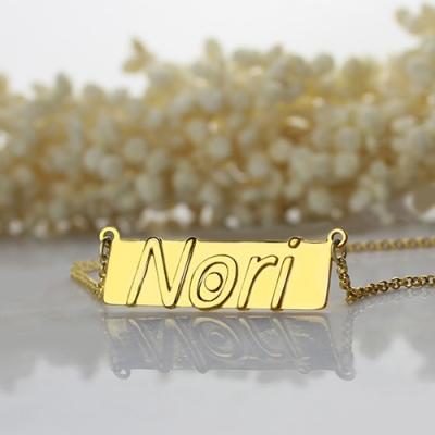 18K Gold Plated Graceful Custom Nameplate Bar Necklace