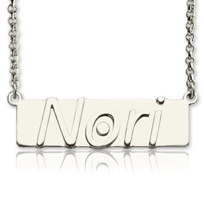Sterling Silver Glittering Personalized Nameplate Bar Necklace