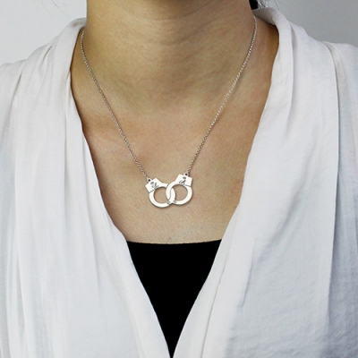 Sterling Silver Flawless Initial Handcuff Necklace For Couple