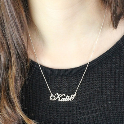 Sterling Silver Artistic Personalized Carrie Nameplate Necklace