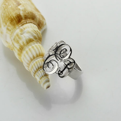 Sterling Silver Flossy Personalized Monogram Ring