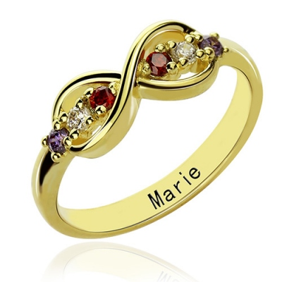 18K Gold Plated Romantic Birthstone Infinity Promise Name Ring