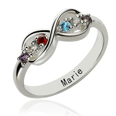 Immaculate Personalized Birthstone Infinity Name Ring For Her