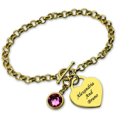 Gold Impressive Engravable Heart & Name Charm Birthstone Bracelet