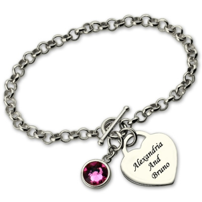 Sterling Silver Appealing Heart Charm Birthstone & Name Bracelet