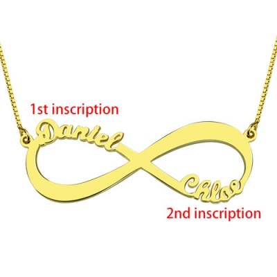 18k Gold Plated Exuberant Infinity Double Names Necklace