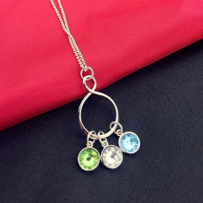 Glistening Personalized Infinity Birthstone Charm Necklace