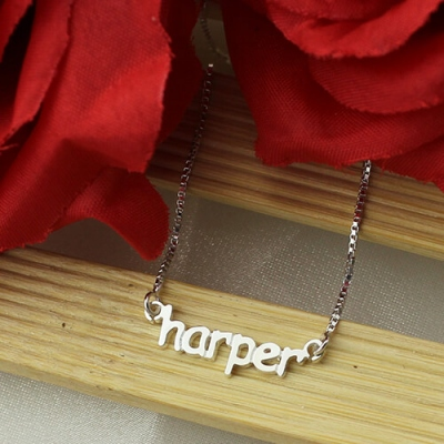 Sterling Silver Glamorous Personalized Mini Letter Name Necklace