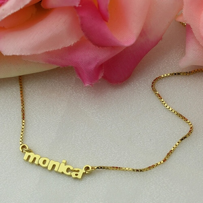 Gold Unequalled Personalized Small Lowercase Name Necklace
