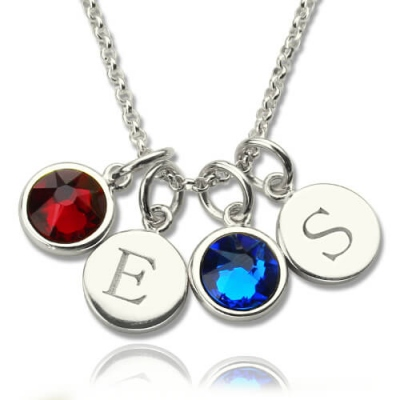 Splendid Personalized Double Initial Charm Birthstones Necklace