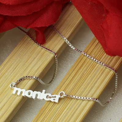 Sterling Silver Subtle Custom My Tiny Name Necklace