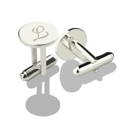 Sterling Silver Aesthetic Circle Initial Cufflinks