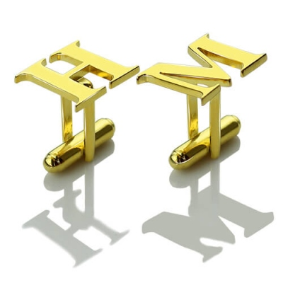 18k Gold Plated Sophisticated Initial Cufflinks