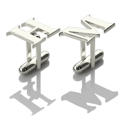 Sterling Silver Diaphanous Initial Cufflinks