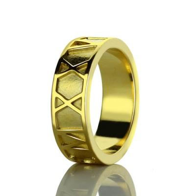18K Gold Plated Lovely Roman Numeral Date Ring