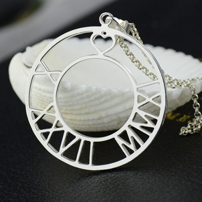 Sterling Silver Bewitching Circle Roman Numeral Disc Necklace