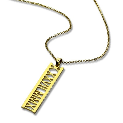 18K Gold Plated Characteristic Vertical Roman Bar Necklace