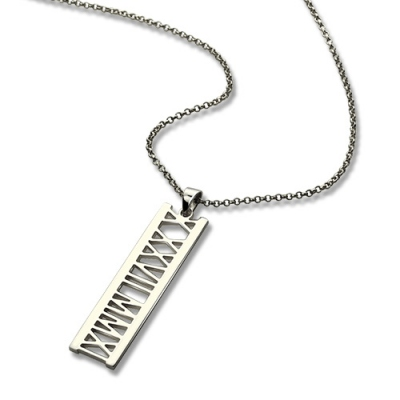 Sterling Silver Appealing Roman Numerals Special Date Necklace