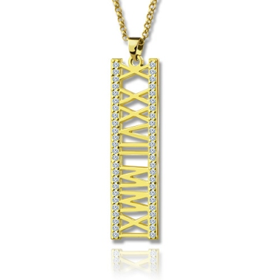 18K Gold Plated Glistening Roman Numeral Birthstone Necklace