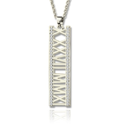 Sterling Silver aluable Roman Numeral Vertical Birthstones Necklace