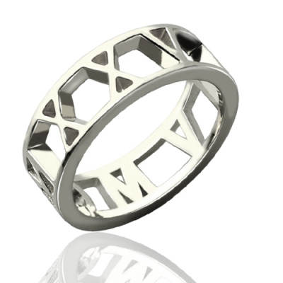 Sterling Silver Exclusive Personalized Roman Numerals Open Ring