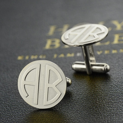 Sterling Silver Alluring Cufflinks for Men: Disc Block Monogrammed