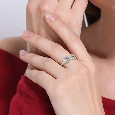 Sterling Silver Chic Full Birthstones Infinity Promise Name Ring