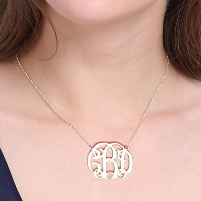 Sterling Silver Charming Personalized Celebrity Monogram Necklace