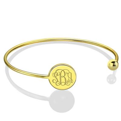Refined 18k Gold Plated Disc Monogram Bangle Adjustable Bracelet