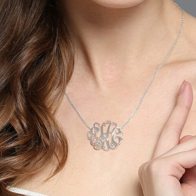 Sterling Silver Glittering Personalized Monogram Necklace