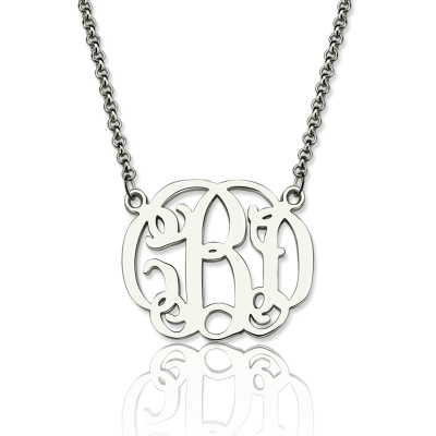 Striking Sterling Silver Personalized Small Celebrity Monogram Necklace
