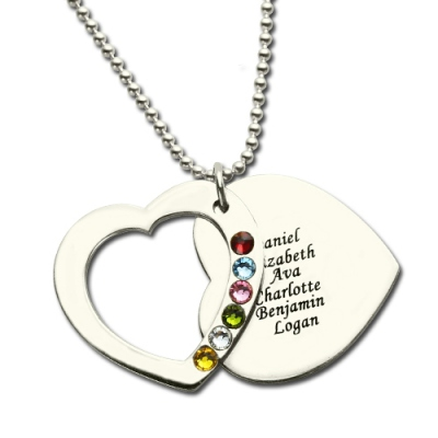 Breathtaking Mother's Birthstones Heart Necklace 6 Names Engraved