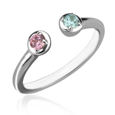 Sterling Silver Costly Dainty Dual Birthstone Cuff Ring