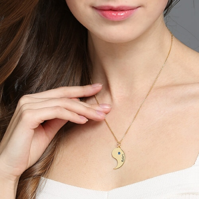 Brilliant 18K Gold Plated Set for Couples Yin Yang Name Necklaces