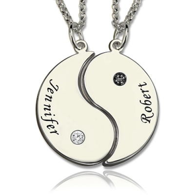 Gifts for Him & Her: Glorious Set with Name & Birthstone Yin Yang Necklace