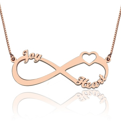 Appealing Rose Gold Heart Infinity 3 Names Necklace