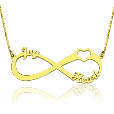 18K Gold Plated Gorgeous 3 Names 1 Heart Infinity Necklace