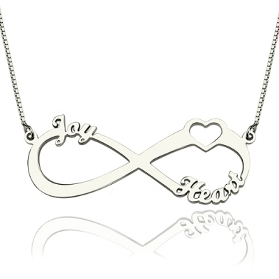 Sterling Silver Adorable Heart Infinity 3 Names Necklace