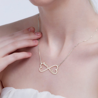 Sterling Silver Typical Personalized 2 Hearts & Names Infinity Necklace