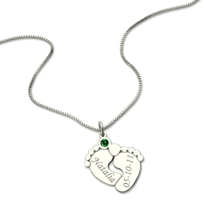 Charming Personalized Birthstone Engraved Baby Feet Necklace in Silver